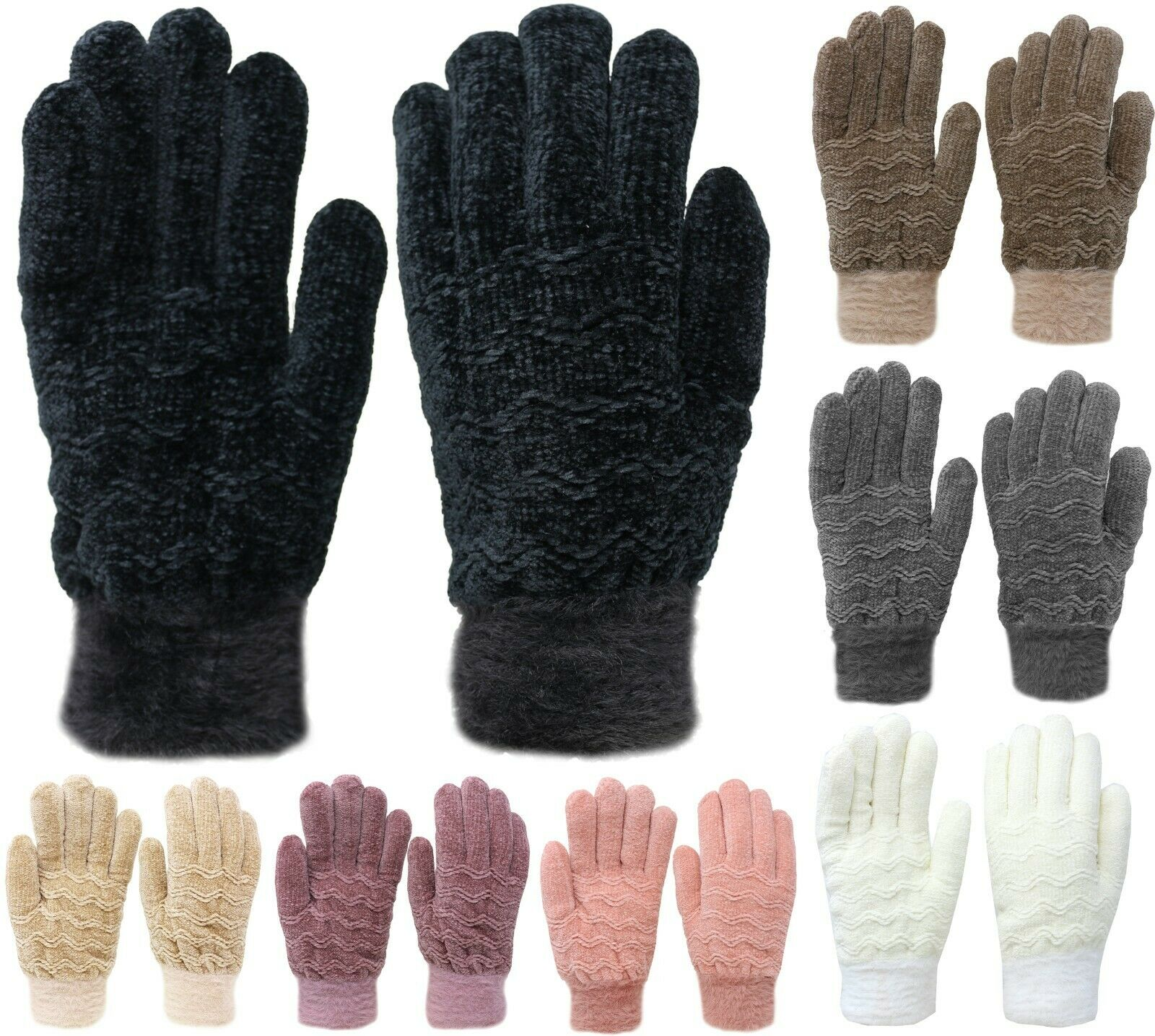 Womens Chenille Thick Winter Gloves Clothing, Shoes & Accessories