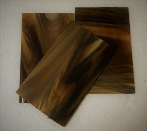 (3) 3 x 6 inch Stained Glass Sheets - Dark Amber brown woody Spectrum 317.6