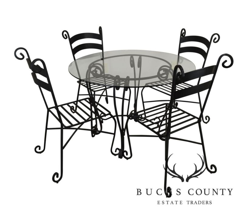 "Wrought Iron 5 Piece 42"" Round Glass Top Bistro Dining Set"