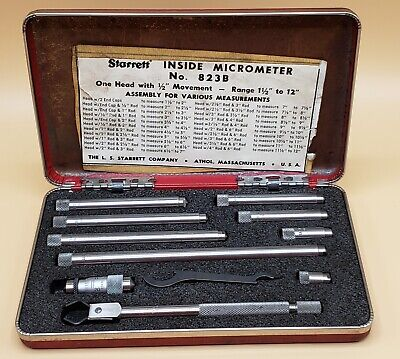 Vintage Starrett Micrometer 823 Inside 1 12 - 12 With Original Box Complete
