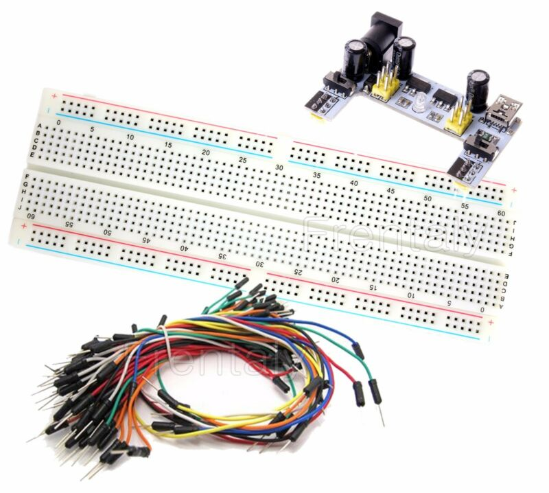 MB-102 830 Point Testing PCB Breadboard + K2 Power Supply, 65 ps Jump Cable Wire