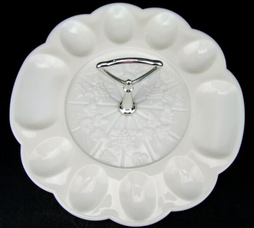 Westmoreland Paneled Grape Egg Plate Tidbit Serving Tray EUC