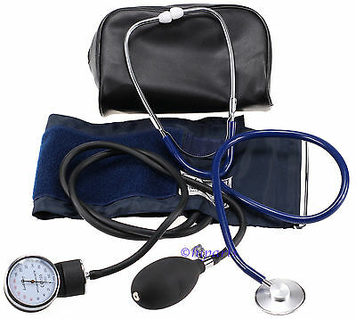 Manual Aneroid Sphygmomanometer Blood Pressure Monitor Cuff Stethoscope Adult