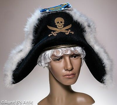 Pirate Hat Black Velour Fabric Over Foam Soft Napoleon Style Skull & Cross Bones](Pirate Hat Styles)