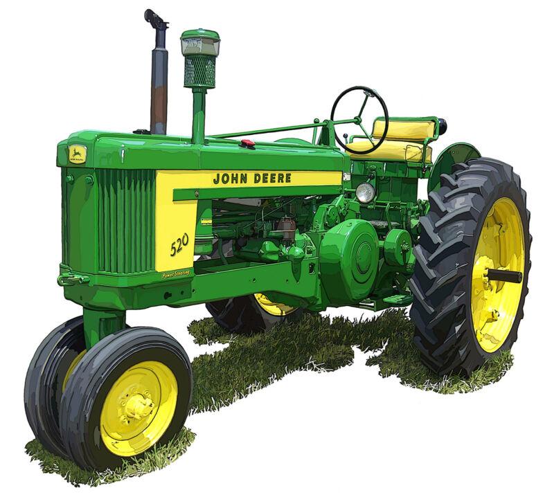 John Deere Model 520 canvas art print by Richard Browne farm tractor