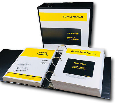 Service Parts Manual Set For John Deere 555b Crawler Dozer Loader Shop Book