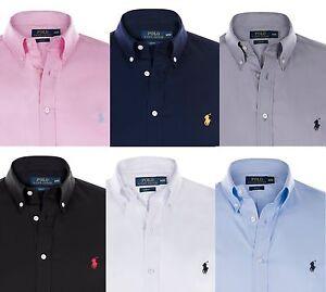 Nuevo-Polo-Ralph-Lauren-Calce-Ajustado-Algodon-Boton-cuello-espaldo-camisas-para-hombres