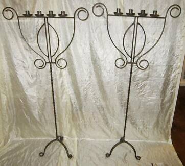 Pair of Large Iron Candelabra Free Standing Candle Stick Holders South Windsor Hawkesbury Area Preview