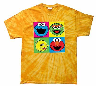 SESAME STREET TIE DYE T-SHIRT COOKIE,ELMO,BIG BIRD... S-5XL & KIDS XS2-4-L14-16 5 Sesame Street Cookie