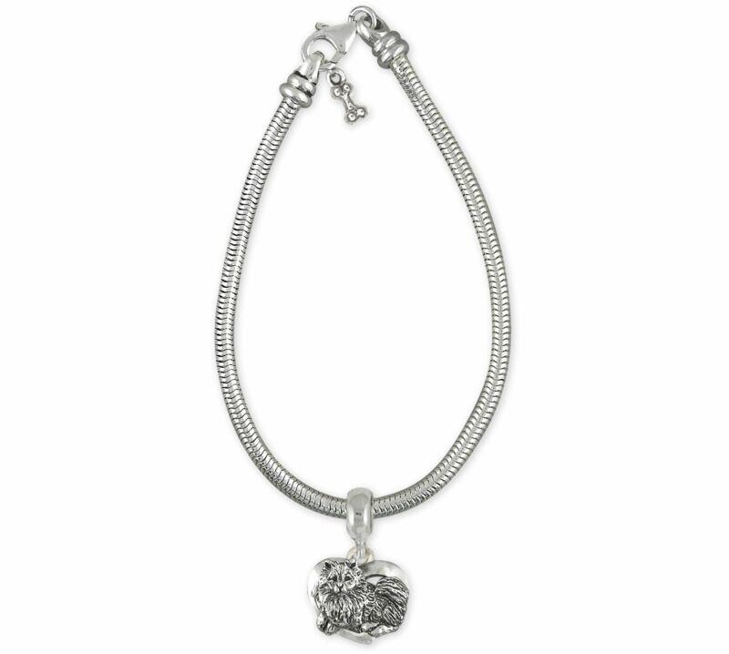 Keeshond Jewelry Sterling Silver Handmade Keeshond Slide Bracelet And Charm  KSH