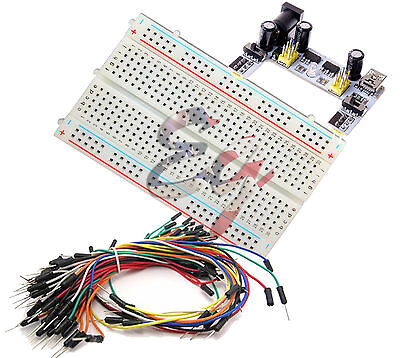 Mini Prototype test board deck & K2 Power Supply & 65pcs Breadboard Wire cable