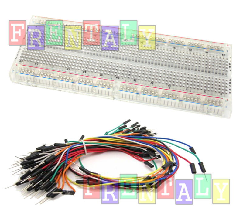 Combo2 Clear MB-102 830 Point Testing PCB Breadboard + 65 Jump Cable Wires