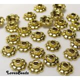 JEWELRY MAKING LOT OF 25 GOLD TONE ORNATE SCALLOPED BEAD CAPS-8mm-FINDINGS
