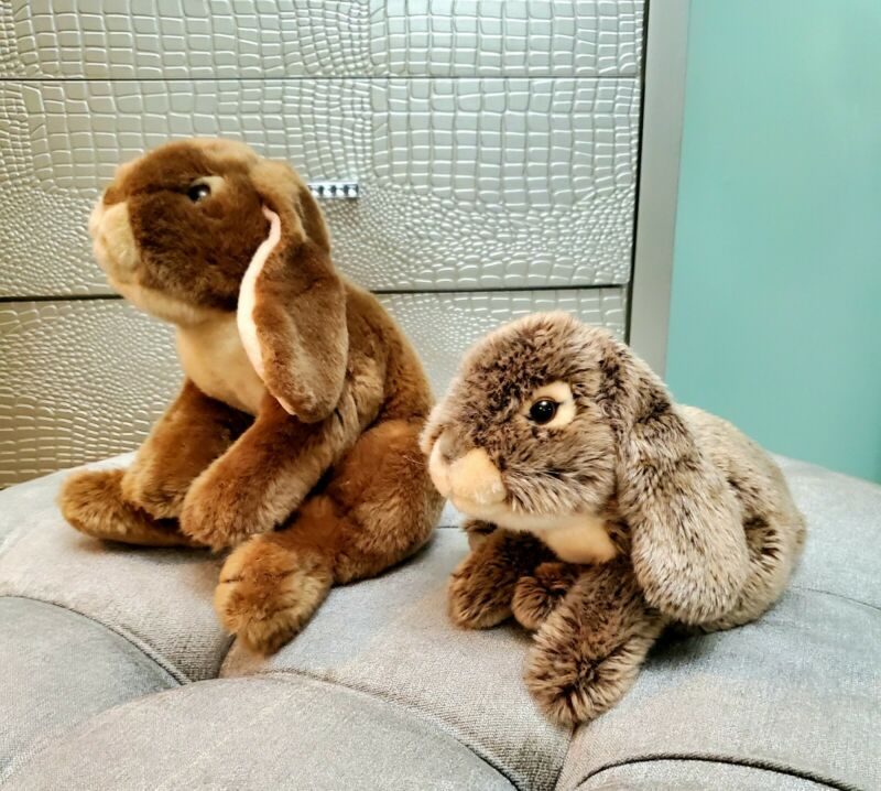 2012 Toys R Us Animal Alley Bunny Rabbit Plush Lop Hare Brown Gray Set Easter