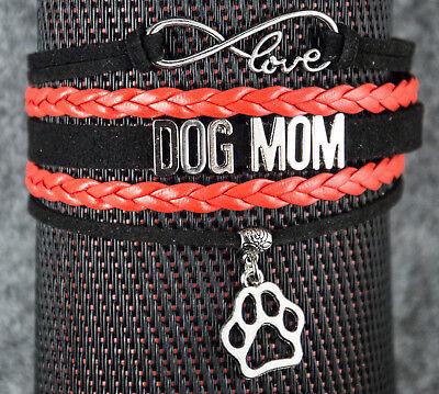 Hund Schmuck. Leder Armband Dog Mom mit Pfote, Love, Unendlichkeitszeichen