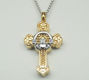 Gold over Stainless Claddagh Cross Cremation Urn Necklace || Irish Keepsakes