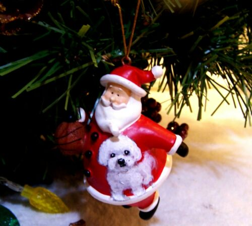 hand painted Bichon Frise on Santa Christmas  Ornament original art