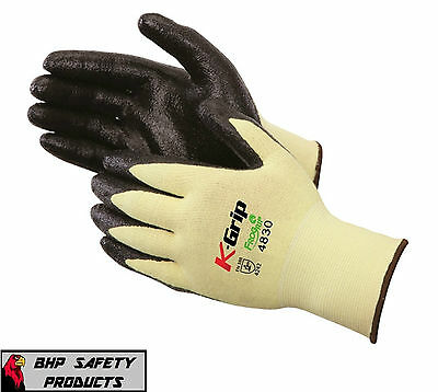 Liberty K-grip Kevlar Cut Resistant Work Gloves W Nitrile Palm Medium 1 Pair