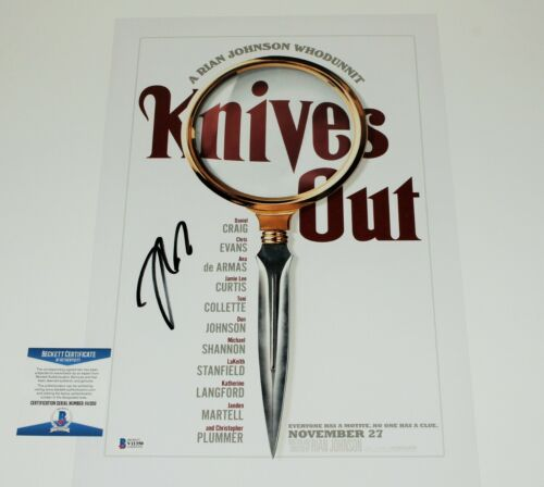 DIRECTOR RIAN JOHNSON SIGNED KNIVES OUT 12x18 MOVIE POSTER BECKETT COA STAR WARS