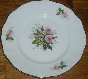 1 Kuchenteller 19 cm  Seltmann Weiden  THERESIA  24021  Rosa Rose mit Goldrand