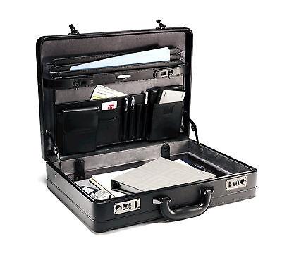Samsonite Bonded Genuine Leather Attache Briefcase Laptop Case Bag Men Black Doc