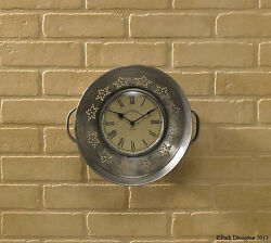 Park Designs Silver Metal Colander Kitchen Wall Clock Seive Clock Strainer Clock