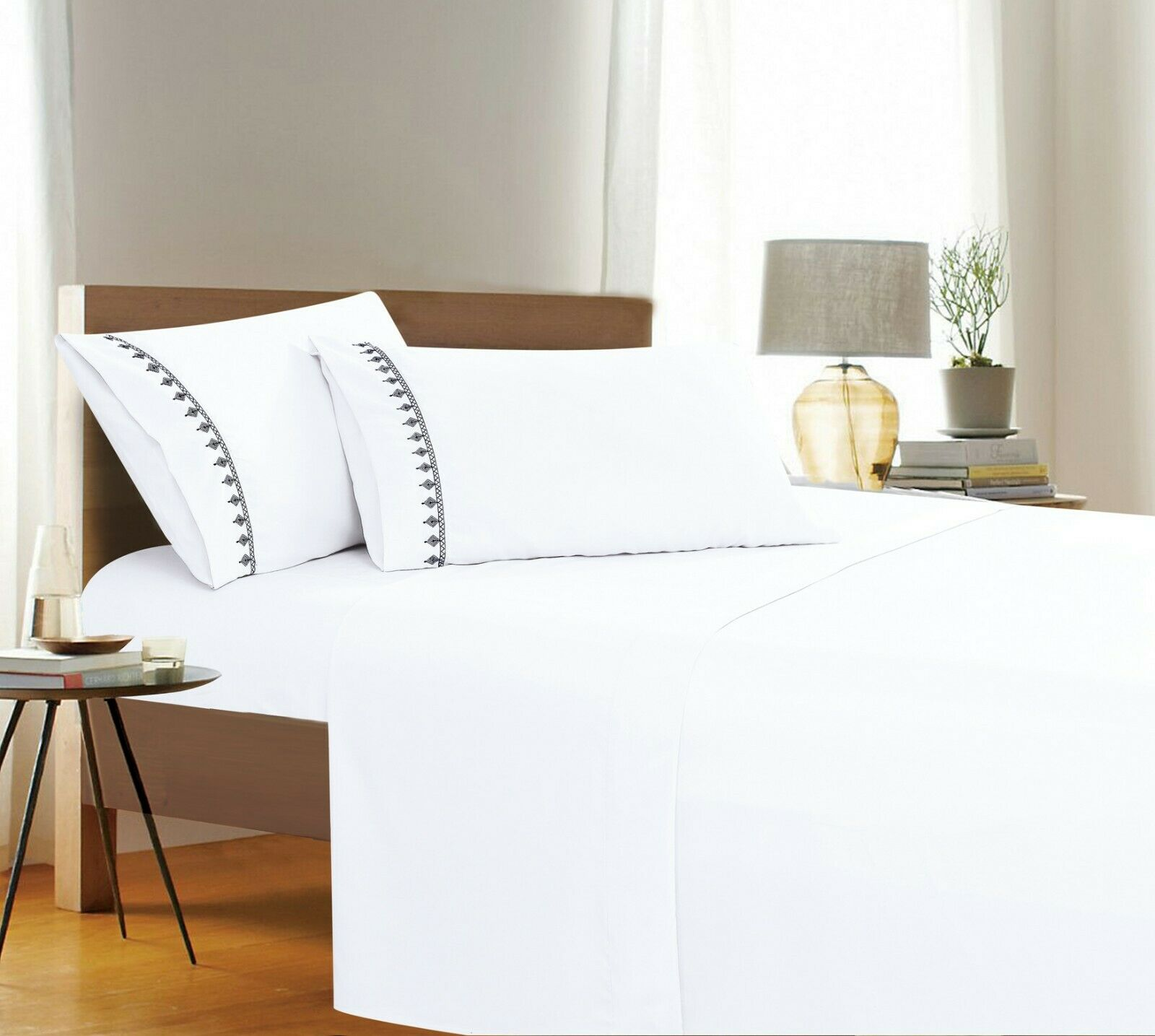 Evil-Eye Embroidered Collection 4-Piece Bed Sheet & Pillowca