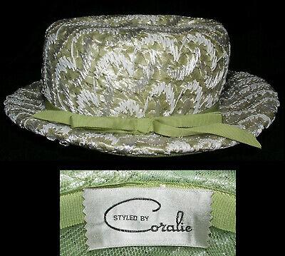 Plain Party Hats ( Women's Woven Fedora Hat Sz S  Raffia w Sheer Fabric Church Party Lt Moss)