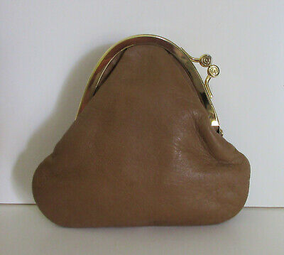 Vintage Gucci Soft Brown Leather Kisslock Coin Purse Made in Italy