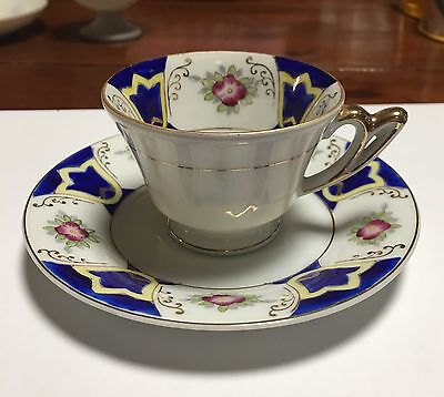 UCAGCO China Demitasse Tea Cup & Saucer Set Cobalt Blue, Pink Floral, Gold Trim