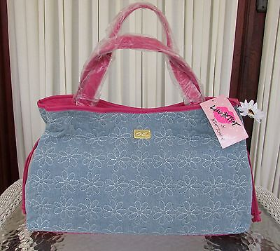 Luv Betsey Johnson Denim Jeans Daisy Tote Quilted Shoulder Bag Large Diaper NWT Betsey Johnson Jeans