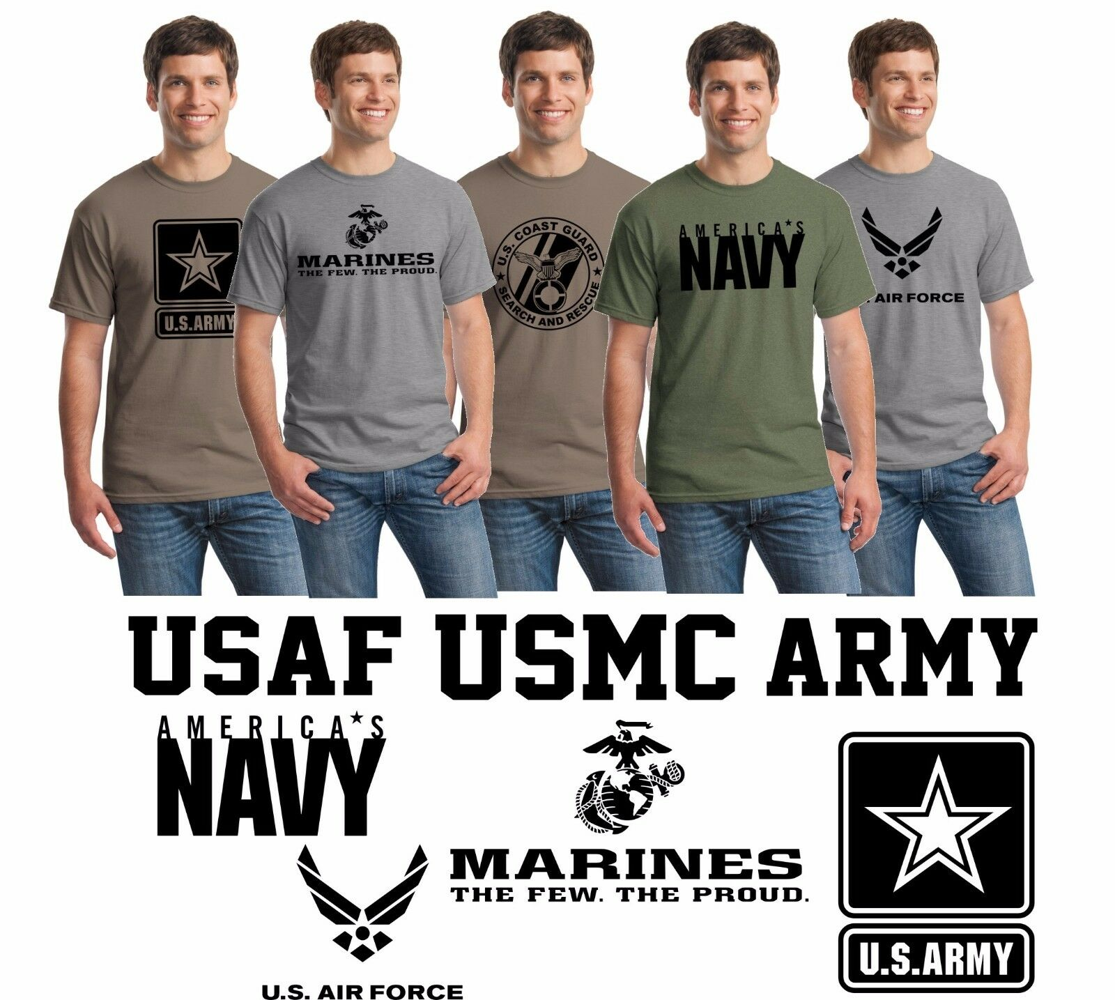 US-Army-Navy-Air-Force-USAF-Marines-USMC-Military-Physical-Training-PT-T-Shirts