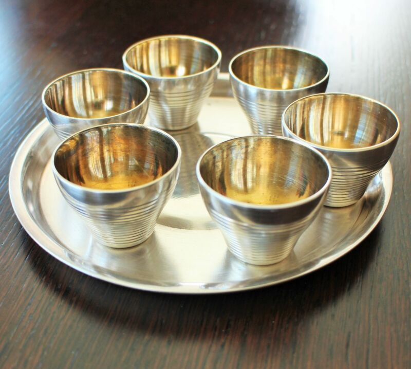 Vintage Silver Coated Melhior 7 Piece Set 6 Cups & 1 Tray Russian