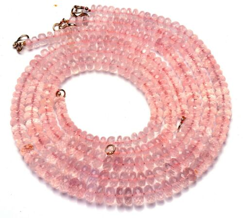 "Natural Gem Rose Quartz 7 to 10MM Size Faceted Rondelle Beads Necklace 18.5"""