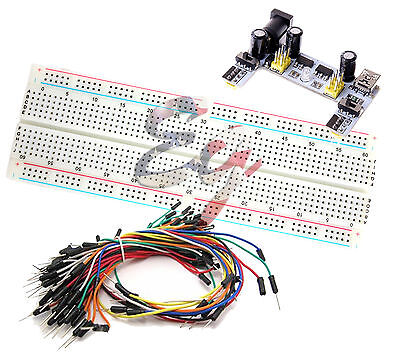 MB-102 830 Prototype PCB Breadboard + K2 Power Supply + 65pcs Jump Cable Wires