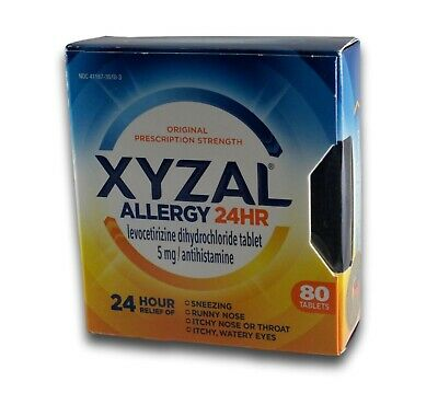 Xyzal 24HR Allergy 24 Hour Relief 5mg Antihistamine Tablets 80 Count exp 10/2019