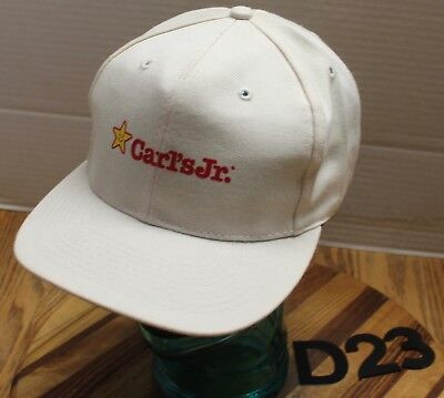 VINTAGE CARL'S JR. RESTAURANT HAT WHITE SNAPBACK ADJUSTABLE VERY GOOD COND D23