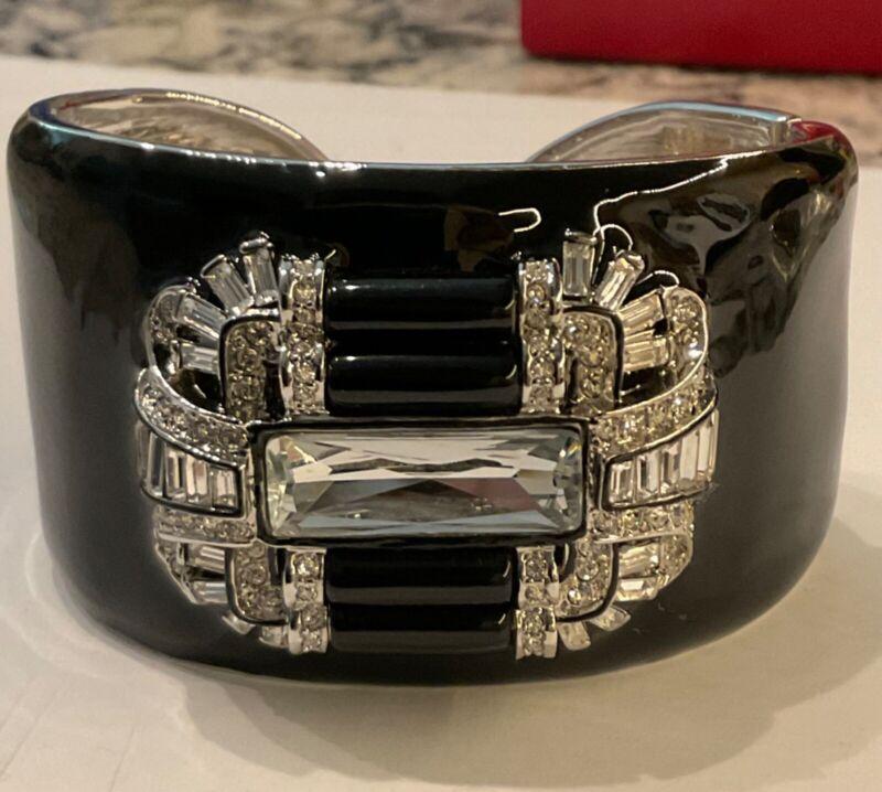Kenneth Jay Lane KJL Silver Tone Black Enamel Art Deco Wide Cuff Bracelet 7in