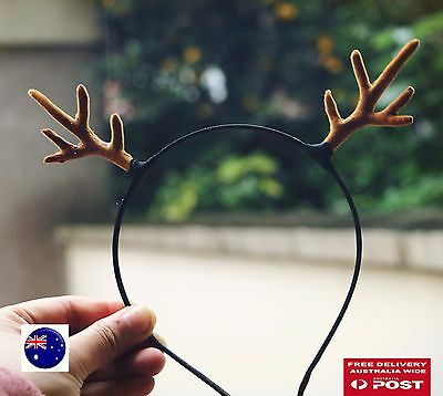 Women Girl Christmas Reindeer Deer Antler Costume Ear Party Hair headband Prop