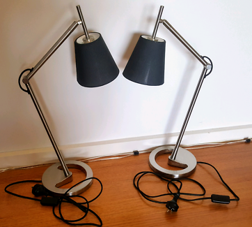 Bedside table lamps nickel-platedwith Black Shade IKEA