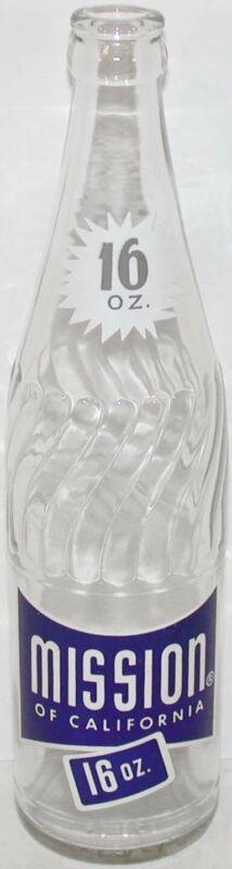 Vintage soda pop bottle MISSION OF CALIFORNIA 16oz 1961 Los Angeles Calif n-mint