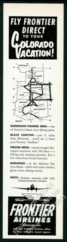 1954 Frontier Airlines system map art vintage print ad