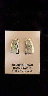 NAVAJO Sterling Silver White Opal Inlay Earrings -
