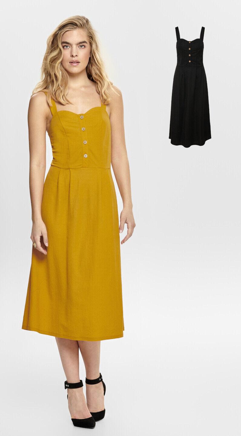 Details zu Only Damen Kleid Midikleid schwarz oder gelb Kleider lang  festliche elegant