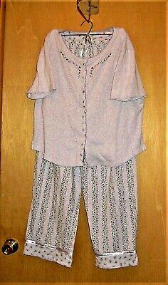 Snap Waist Pajamas (Women's Pajamas Size Large L Dockers Pale Violet Snap Front Elastic + Tie)