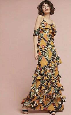 NEW Anthropologie PatBo Moana Ruffle Maxi Dress Size 4 36