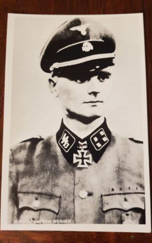 Mint condition WW2 postcard SS Sturmbannführer Heinz Werner