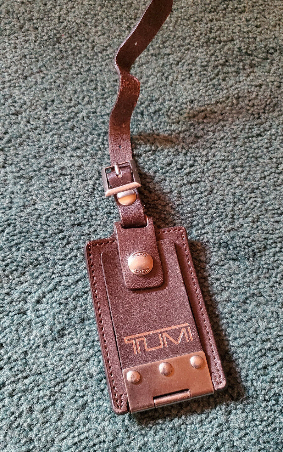 Tumi Luggage Backpack Name Tag Brown Leather - $9.99