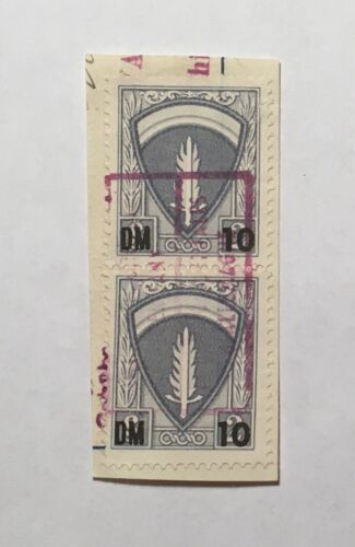 2 Consular AMG Germany Stamps On Visa Fragment 10dm Over 2 - $199.99