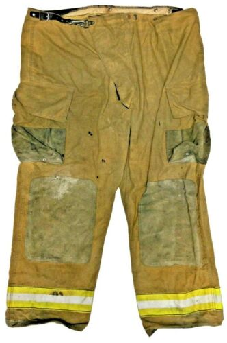 52x30 Globe Brown Firefighter Turnout Pants with Yellow Stripes No Liner PNL-26